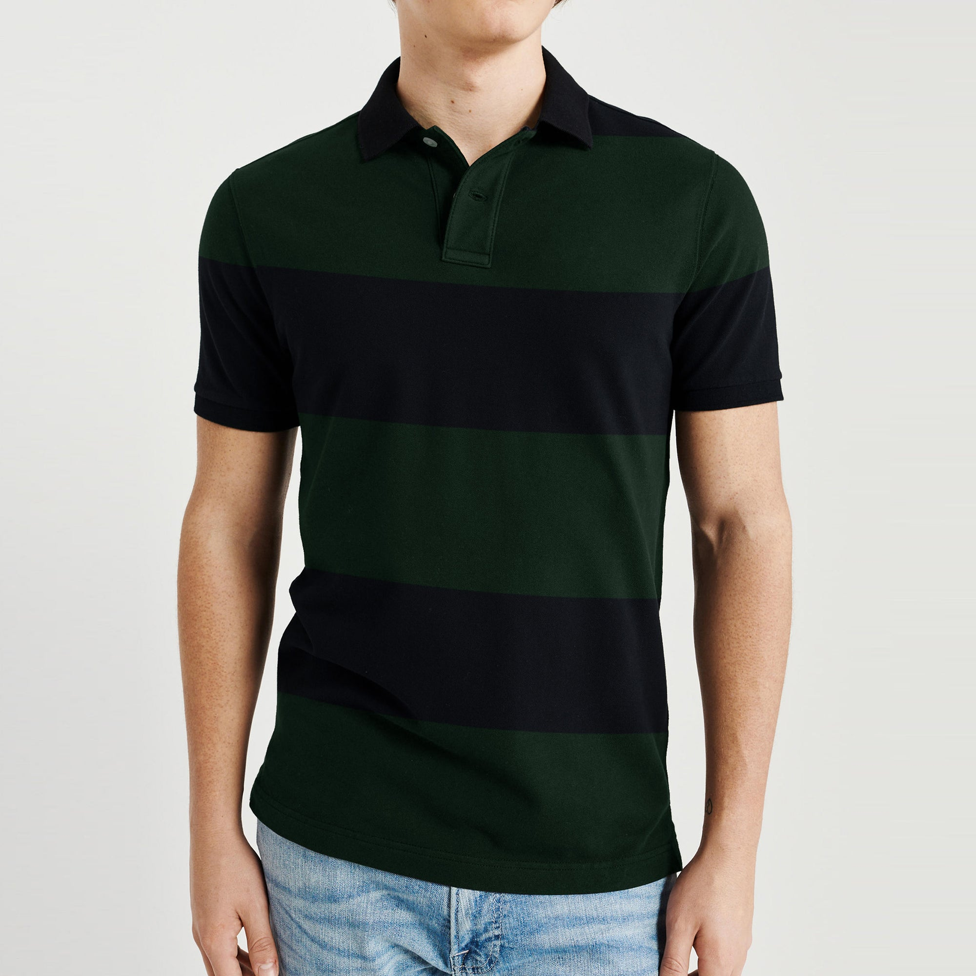 GAP Short Sleeve P.Q Polo Shirt For Men-Dark Green & Dark Navy Stripe-BE8614
