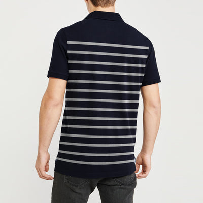 brandsego - GAP Short Sleeve P.Q Polo Shirt For Men-Dark Navy & White Stripe-BE8805
