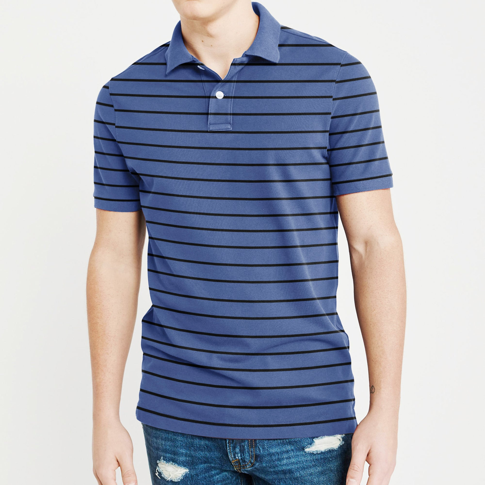 GAP Short Sleeve P.Q Polo Shirt For Men-Light Navy & Black Stripe-BE8406