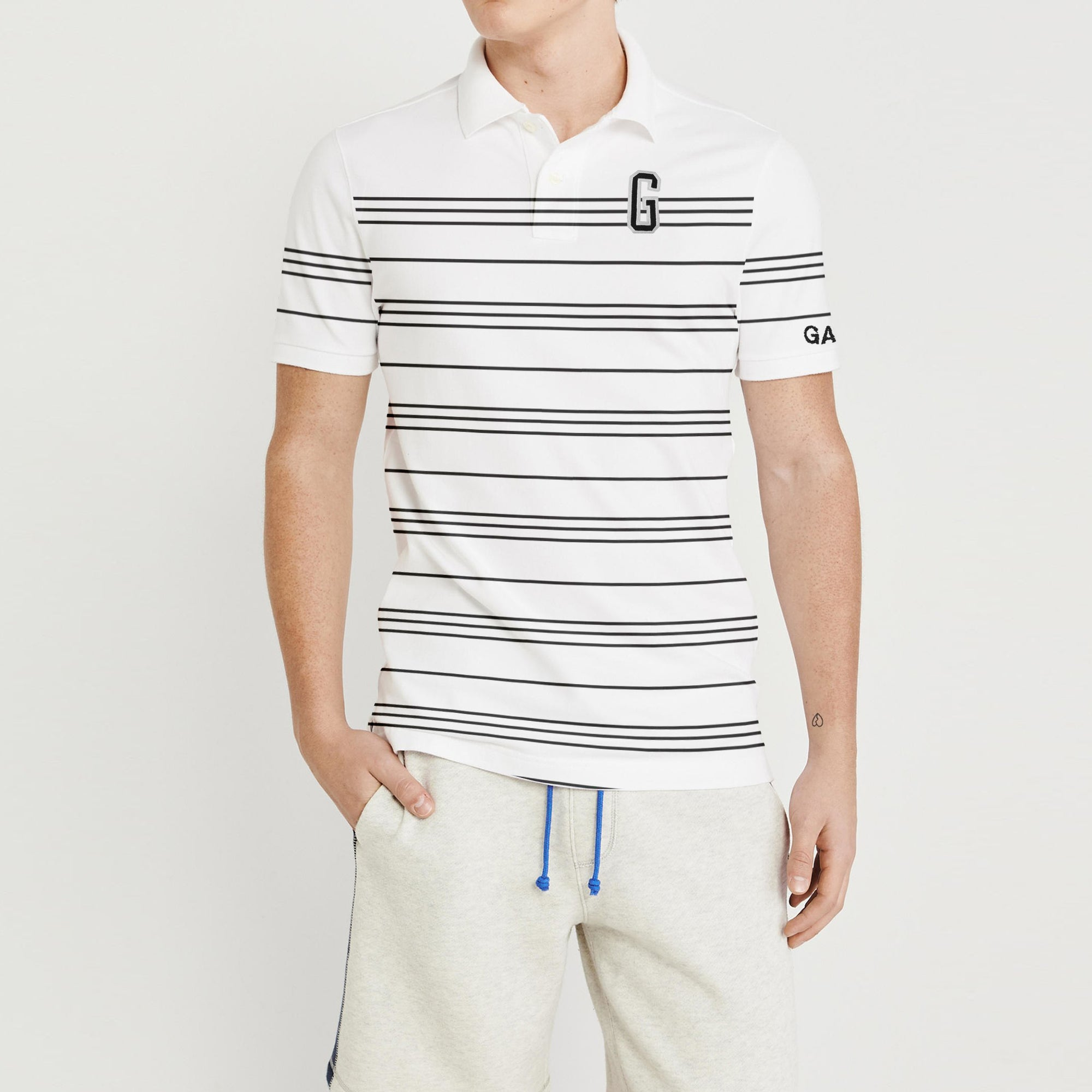 GAP Short Sleeve P.Q Polo Shirt For Men-Off White & Black Stripe-BE8616
