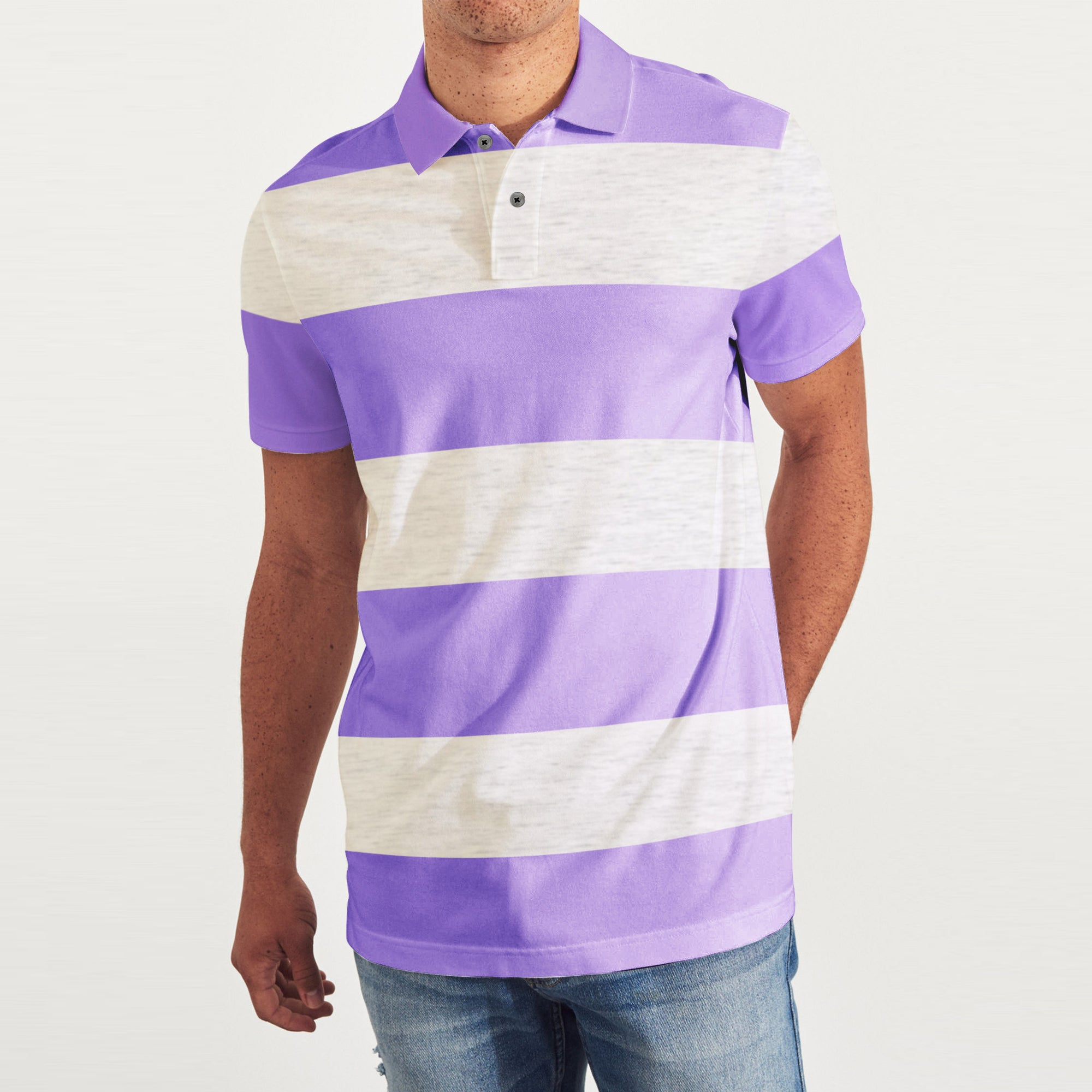 brandsego - GAP Short Sleeve P.Q Polo Shirt For Men-Off White Melange & Purple Stripe-BE8444-1