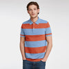 GAP Short Sleeve P.Q Polo Shirt For Men-Sky & Orange Stripe-BE8394