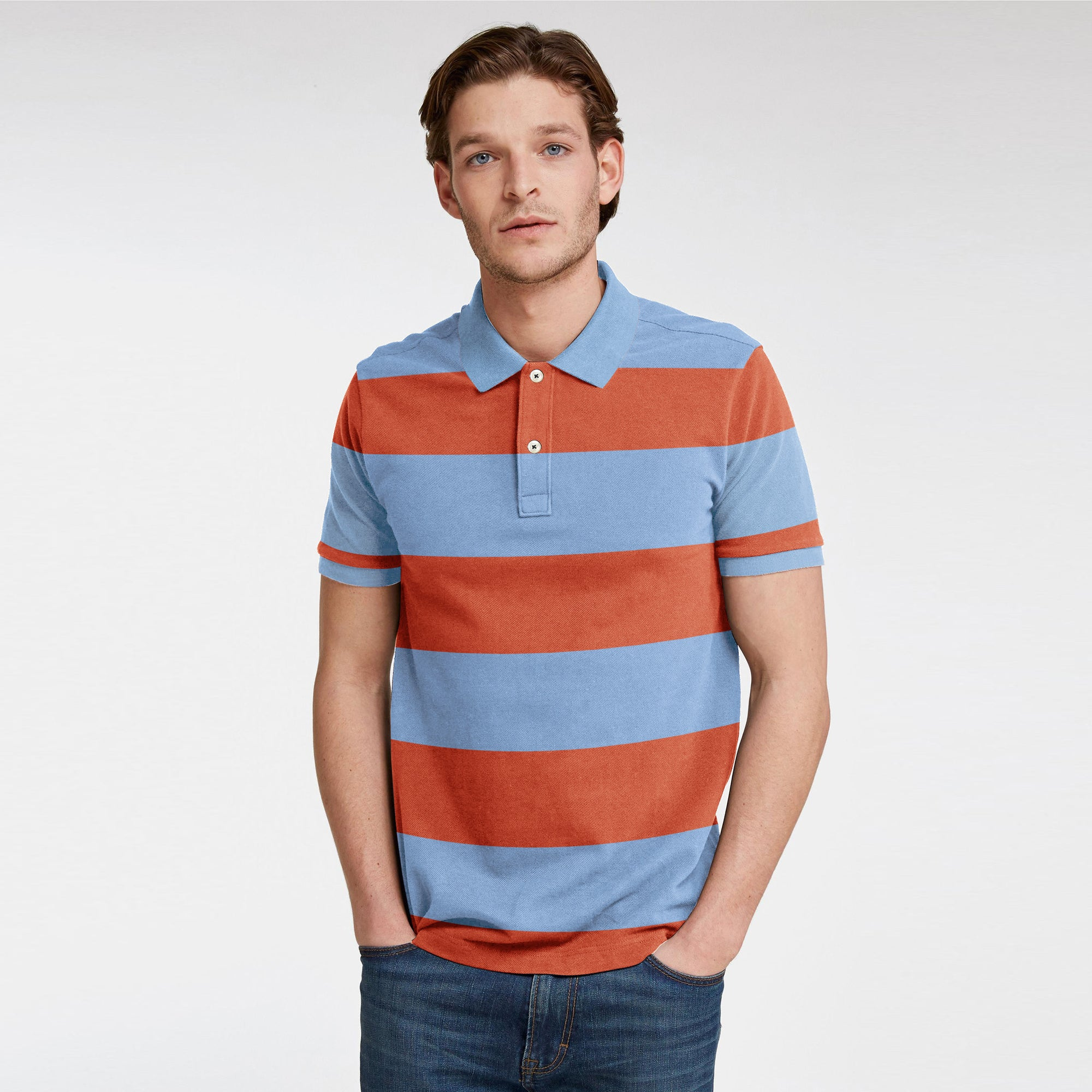 brandsego - GAP Short Sleeve P.Q Polo Shirt For Men-Sky & Orange Stripe-BE8394