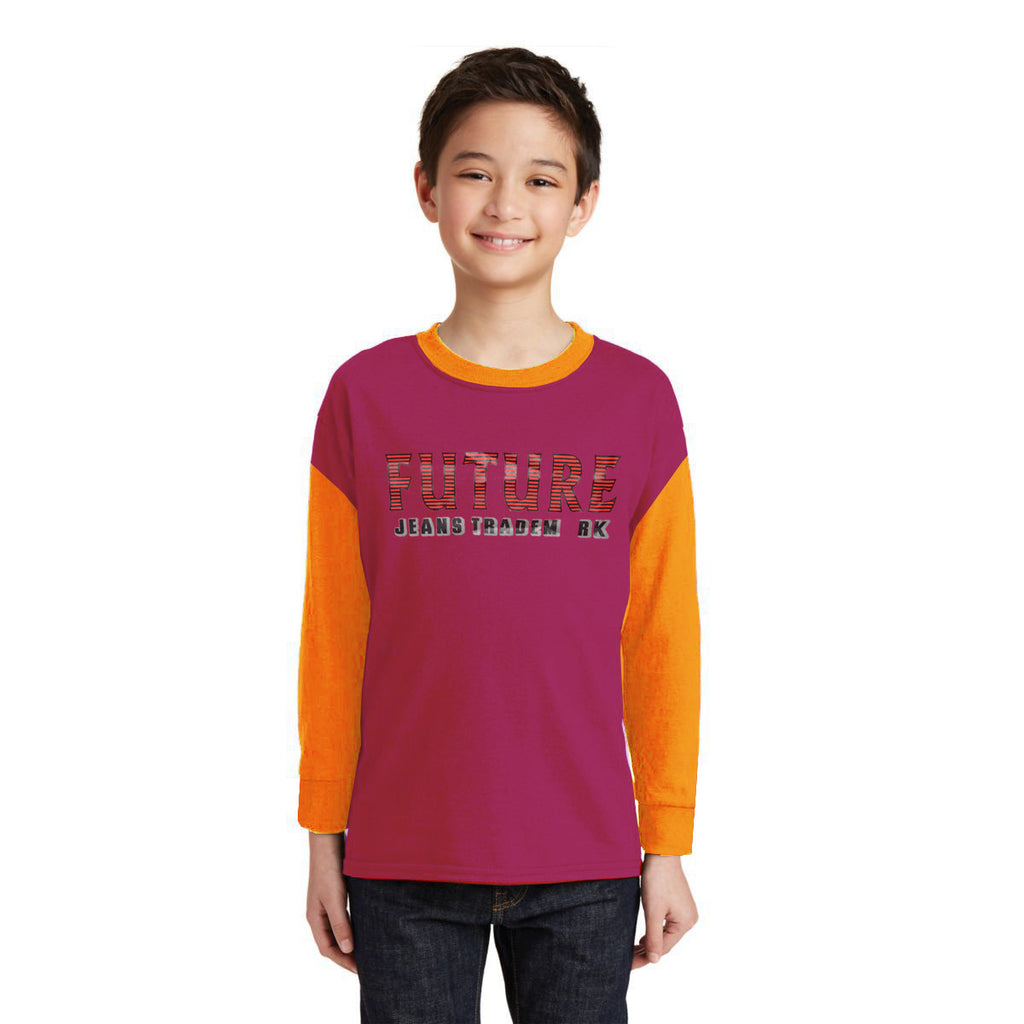 Next Crew Neck Full Sleeve T Shirt For Kid-Dark Pink & Yellow-BE2970