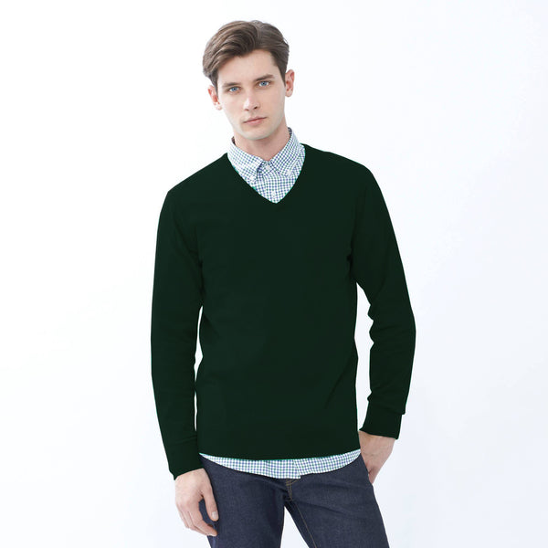 "Men's Cut Label ""Jack & Danny's"" Full Sleeve V Neck Sweat Shirt -Dark Green-JDSS03"
