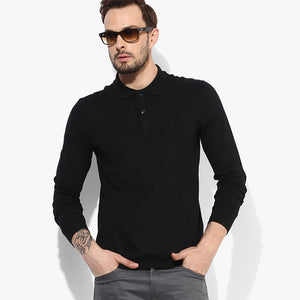 Grin & Bear Full Sleeve Polo Shirt For Men-Black-BE5119