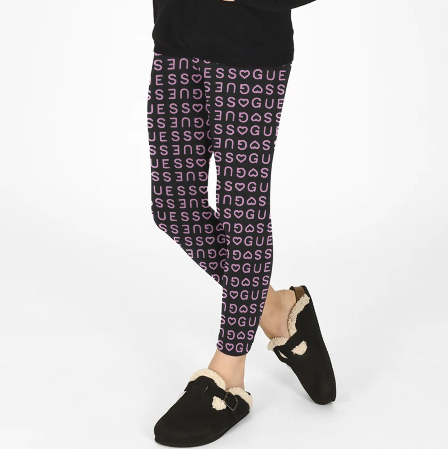 Guess Stylish Legging For Girls-Black with Guess Allover Print-BE12309