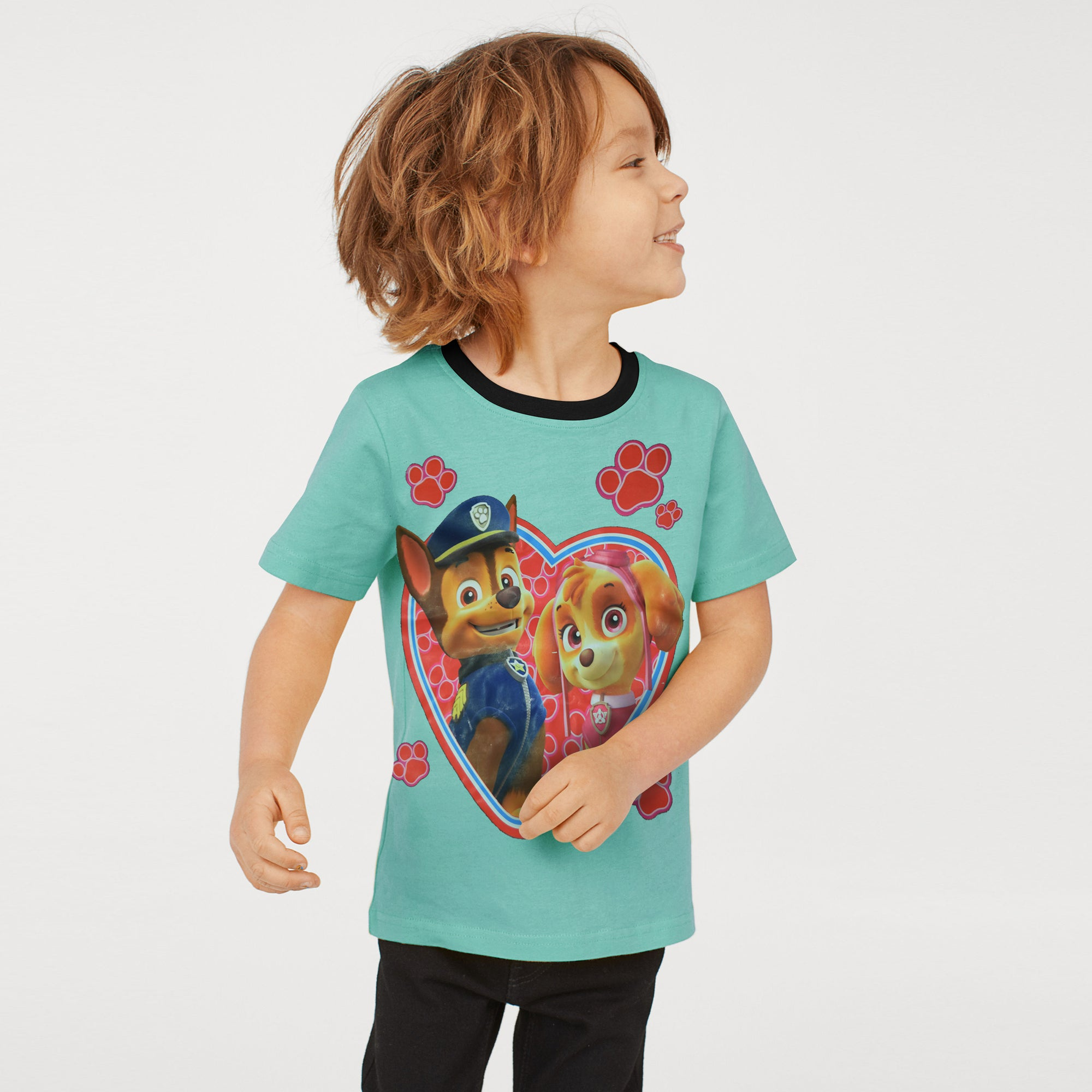 H&M Crew Neck Single Jersey T Shirt For Kids-Cyan Green-BE8343