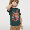 H&M Crew Neck Single Jersey T Shirt For Kids-Dark Green-BE8345