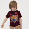 H&M Crew Neck Single Jersey T Shirt For Kids-Dark Maroon-BE8341