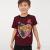 H&M Crew Neck Single Jersey T Shirt For Kids-Maroon-BE8342