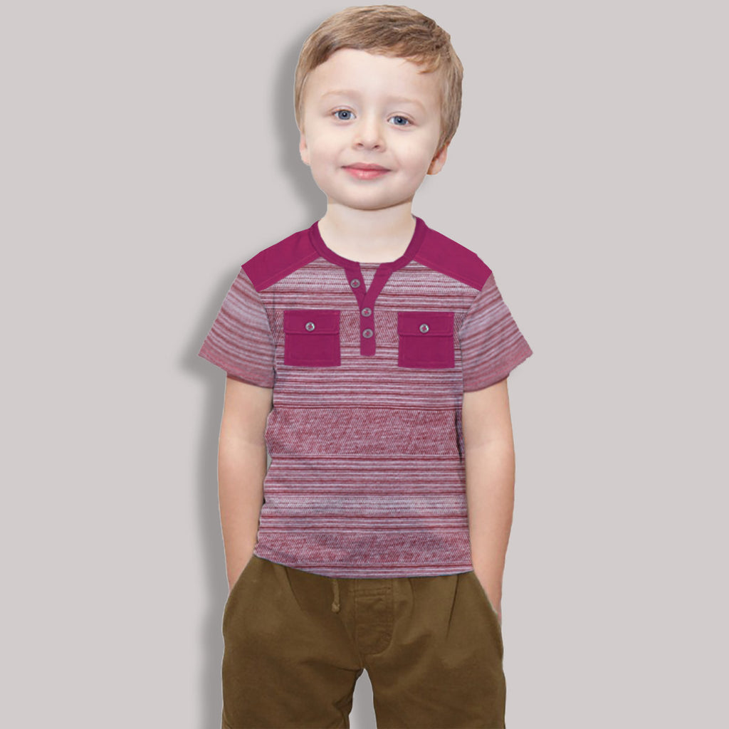 "Kid's ""George Essentials"" Y Neck Tee Shirt With Pocket Style--(T28)"