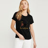 Here Kitty Single Jersey Crew Neck Tee Shirt For Women-Black-BE9647