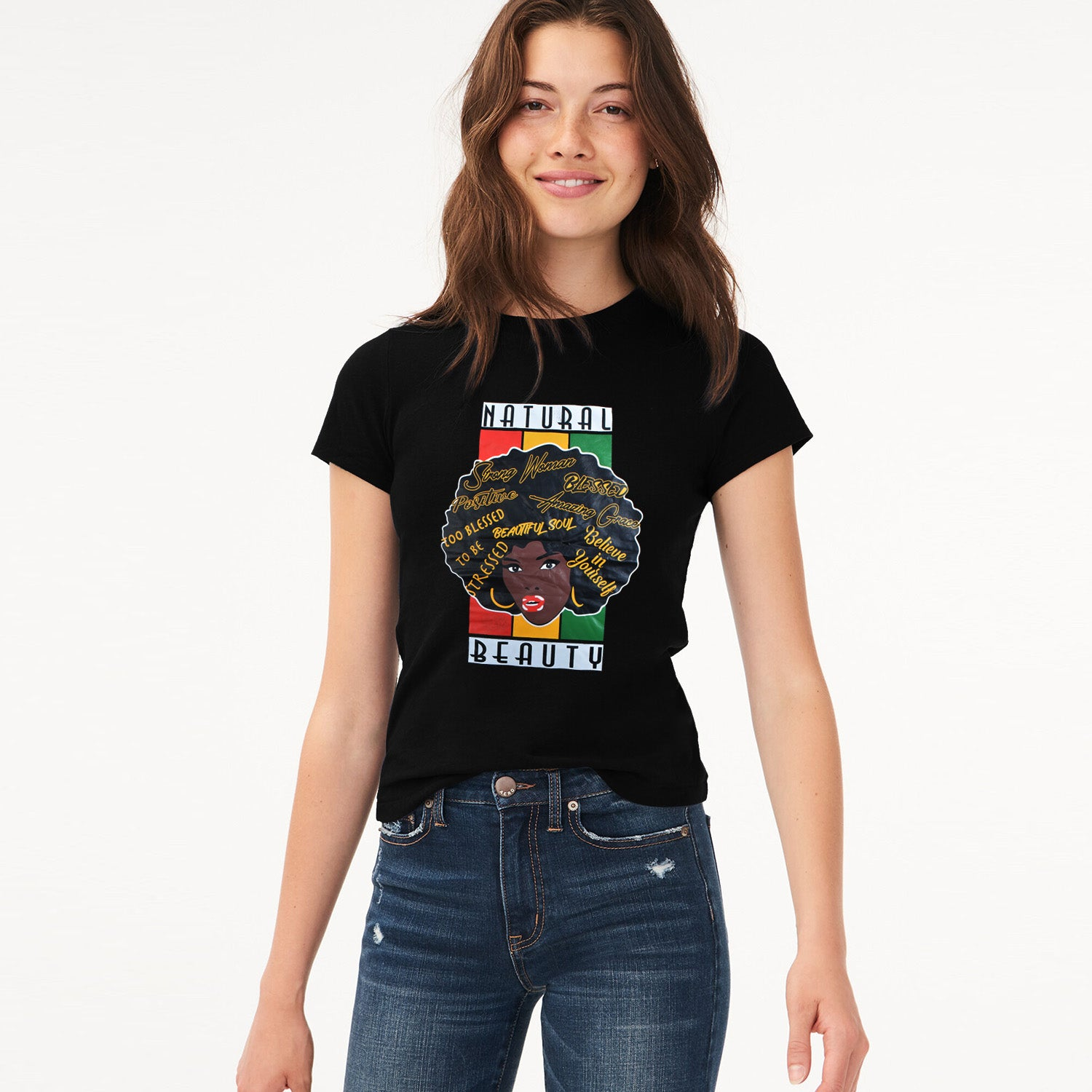 Here Kitty Single Jersey Crew Neck Tee Shirt For Women-Black-BE9652