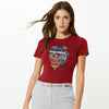 Here Kitty Single Jersey Crew Neck Tee Shirt For Women-Dark Red-BE9701