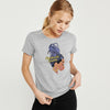 Here Kitty Single Jersey Crew Neck Tee Shirt For Women-Grey Melange-BE9649