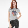Here Kitty Single Jersey Crew Neck Tee Shirt For Women-Grey Melange-BE9650