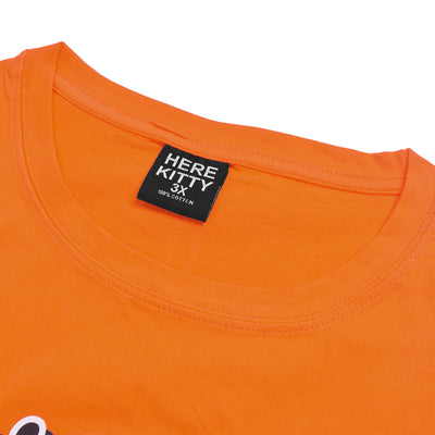 brandsego - Here Kitty Single Jersey Crew Neck Tee Shirt For Women-Orange-BE9635