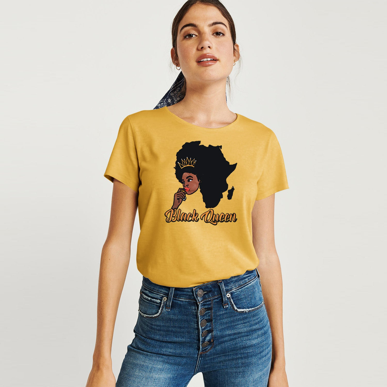 Here Kitty Single Jersey Crew Neck Tee Shirt For Women-Yellow-BE9648