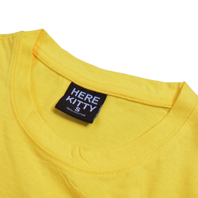 brandsego - Here Kitty Single Jersey Crew Neck Tee Shirt For Women-Yellow-BE9664