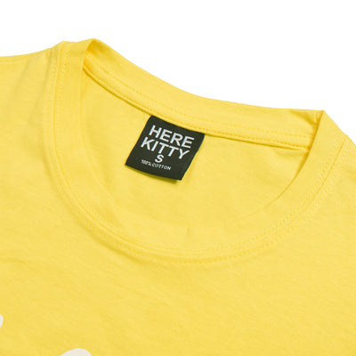 brandsego - Here Kitty Single Jersey Crew Neck Tee Shirt For Women-Yellow-BE9667