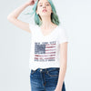 Here Kitty Single Jersey V Neck Tee Shirt For Women-White with Print-BE9653