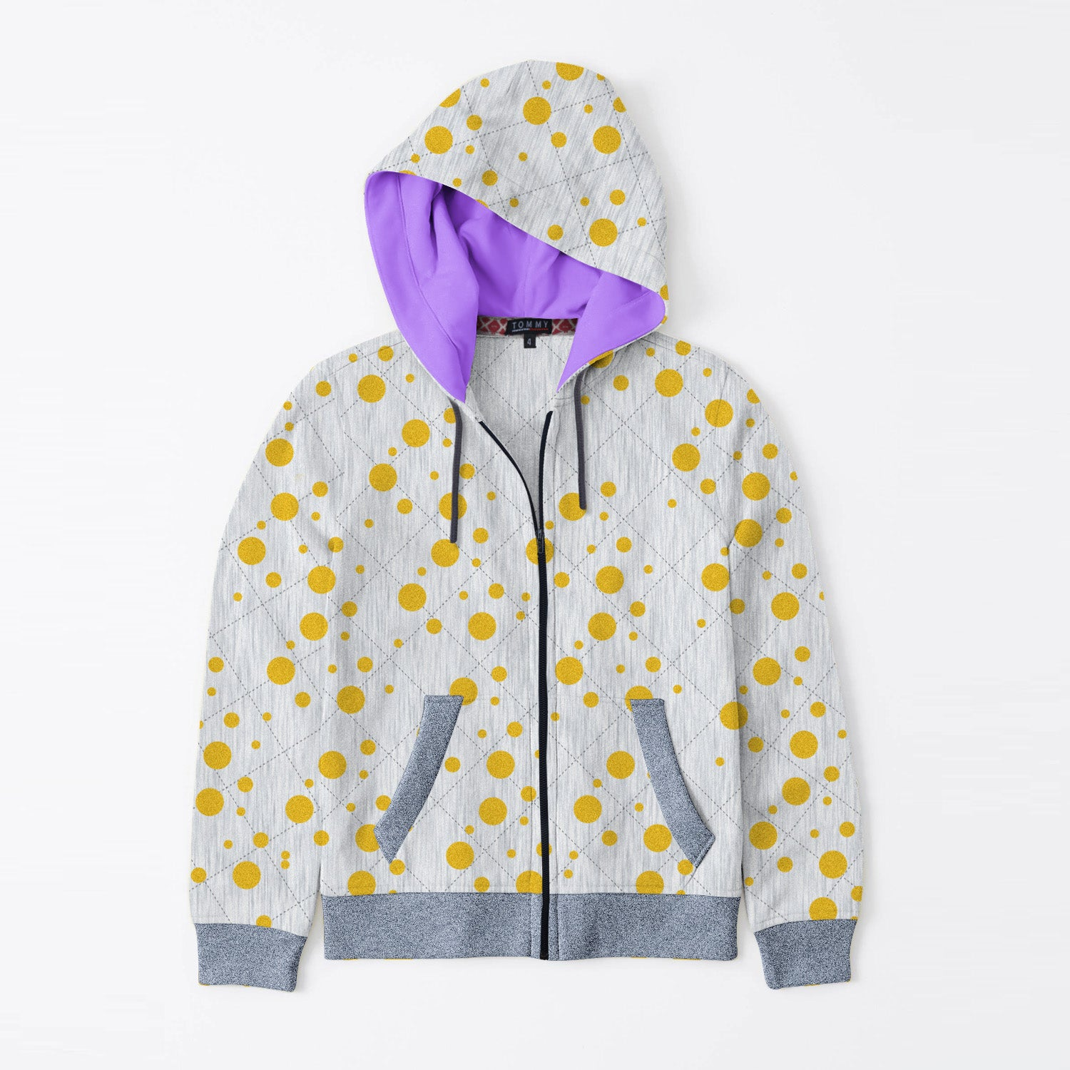 Tommy Hilfiger Quilted Zipper Hoodie For Kids-Grey Melange with Golden Dotted & Navy Melange-BE11077