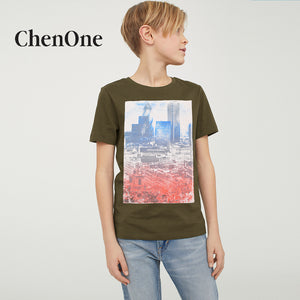 ChenOne Single Jersey T Shirt For Boys-Olive Green-NA1280