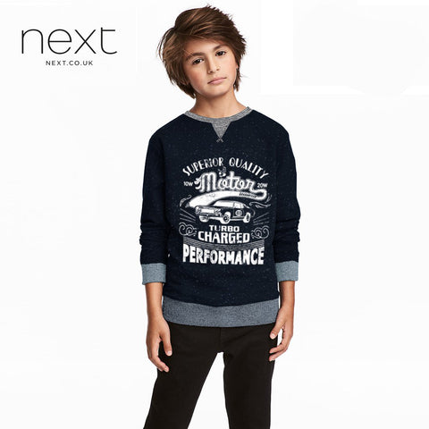 Next Terry Fleece Crew Neck Sweat Shirt For Kids-Dark Navy With White Dots-NA146