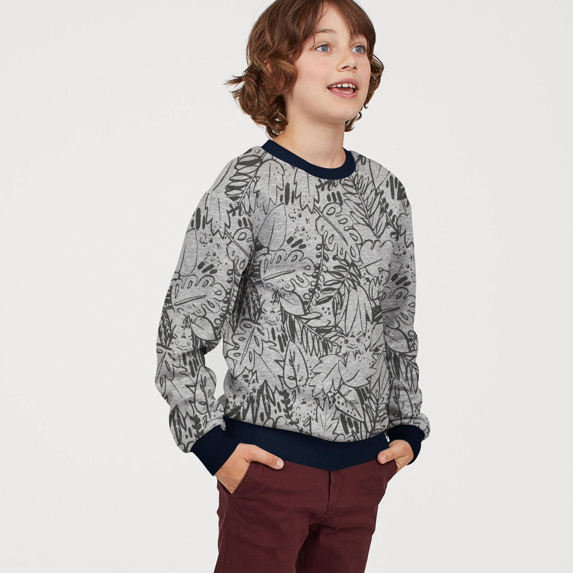 Tommy Hilfiger Fleece Crew Neck Sweatshirt For Kids-Grey With Allover Print-SP1377