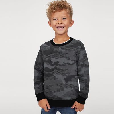 Tommy Hilfiger Terry Fleece Crew Neck Sweatshirt For Kids-Allover Print-SP768