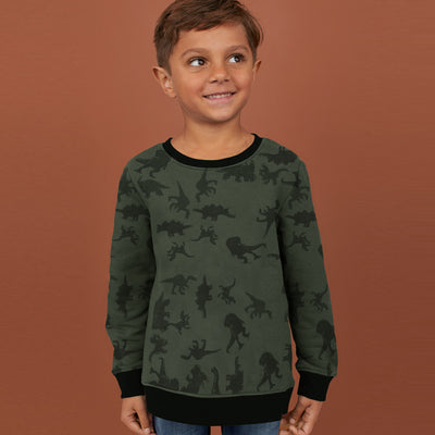 Tommy Hilfiger Fleece Crew Neck Sweatshirt For Kids- Olive With Allover Print-SP1375