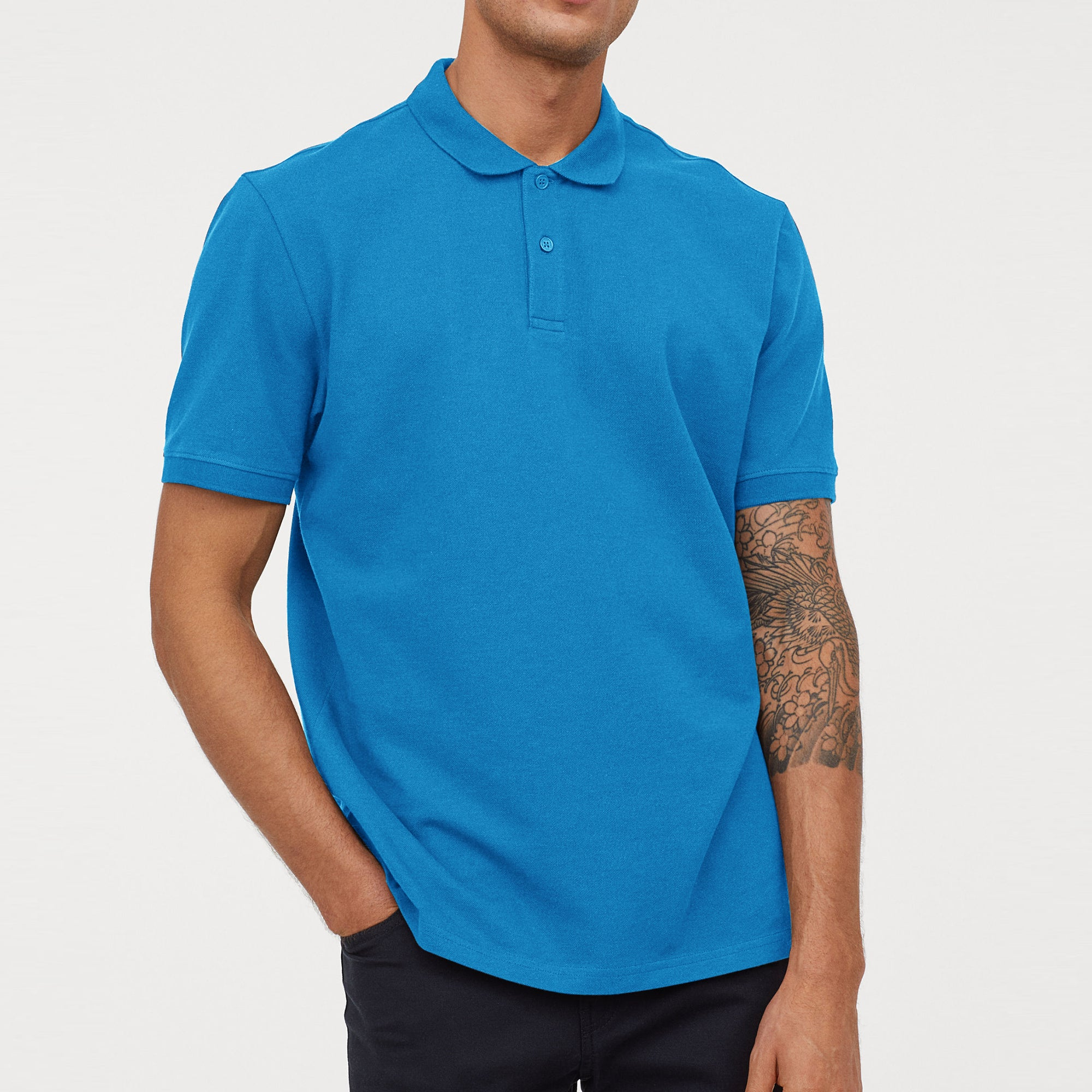 Henbury Short Sleeve Single Jersey Polo Shirt For Men-Sky Blue-SP287
