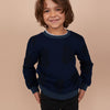 Tommy Hilfiger Terry Fleece Crew Neck Sweatshirt For Kids-Navy With Leaf Print-SP1388