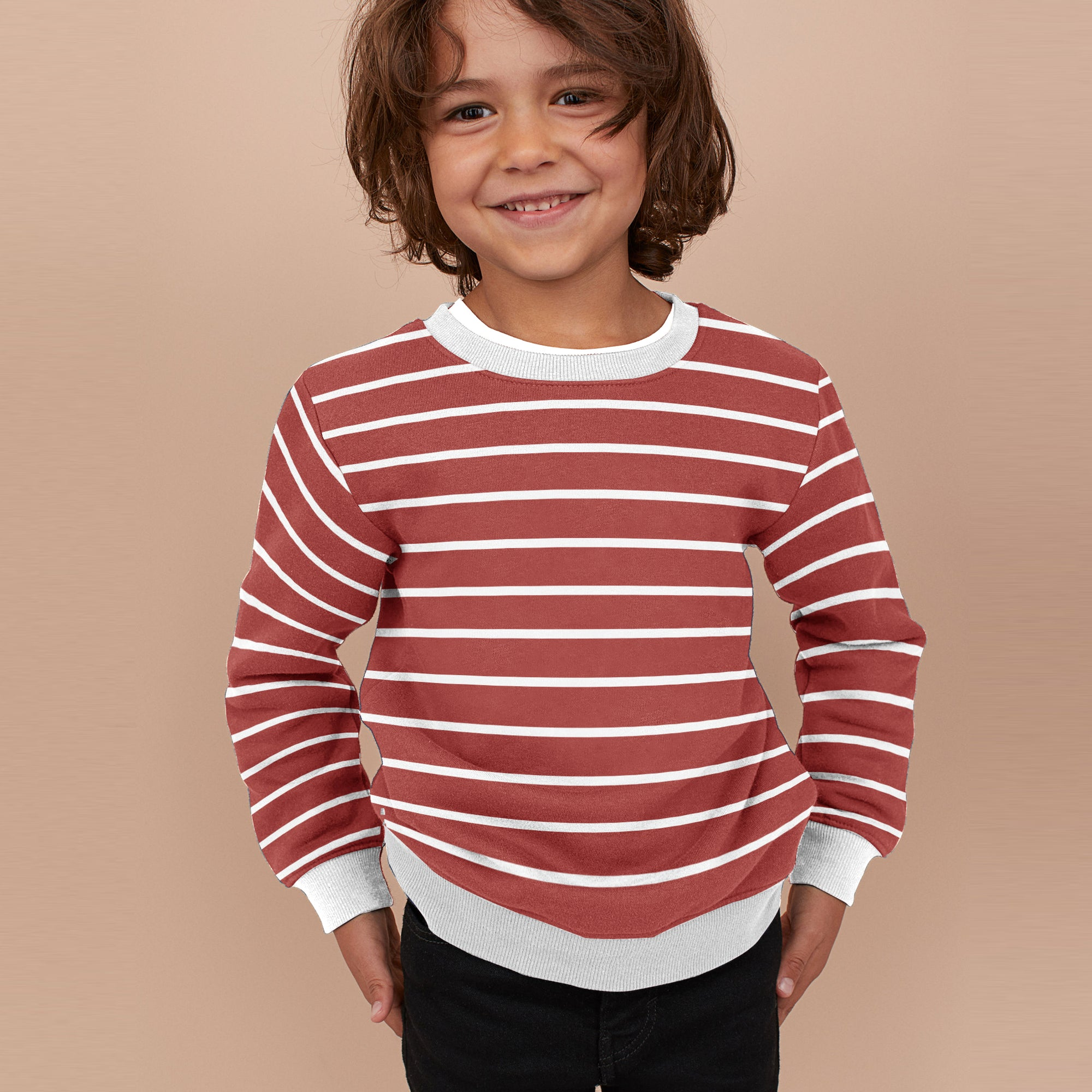 Tommy Hilfiger Terry Fleece Crew Neck Sweatshirt For Kids-Red With Stripes-SP816