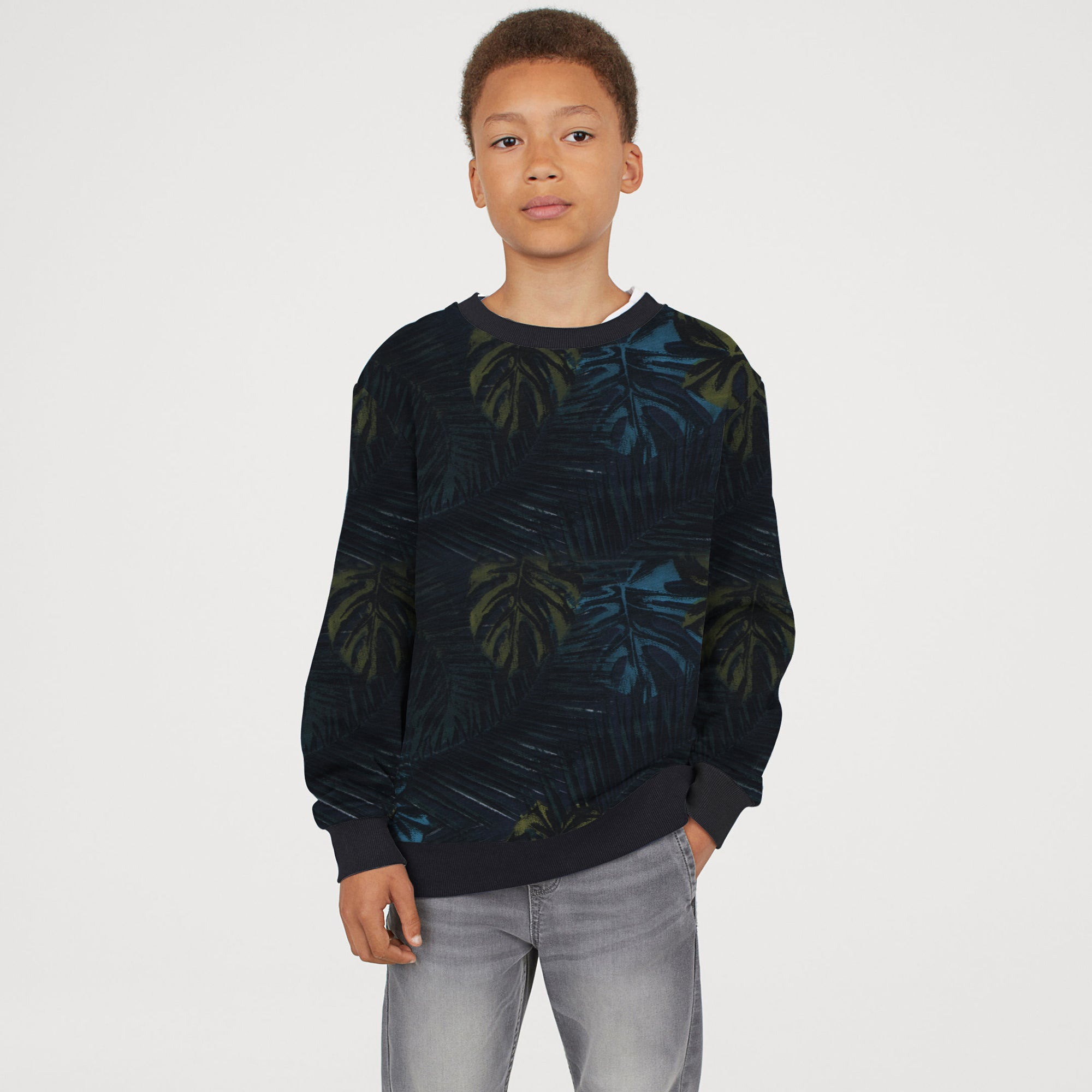 TH Terry Fleece Crew Neck Sweatshirt For Kids-Allover Print-SP764