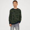 Tommy Hilfiger Fleece Crew Neck Sweatshirt For Kids-Olive With Allover Print-SP1380