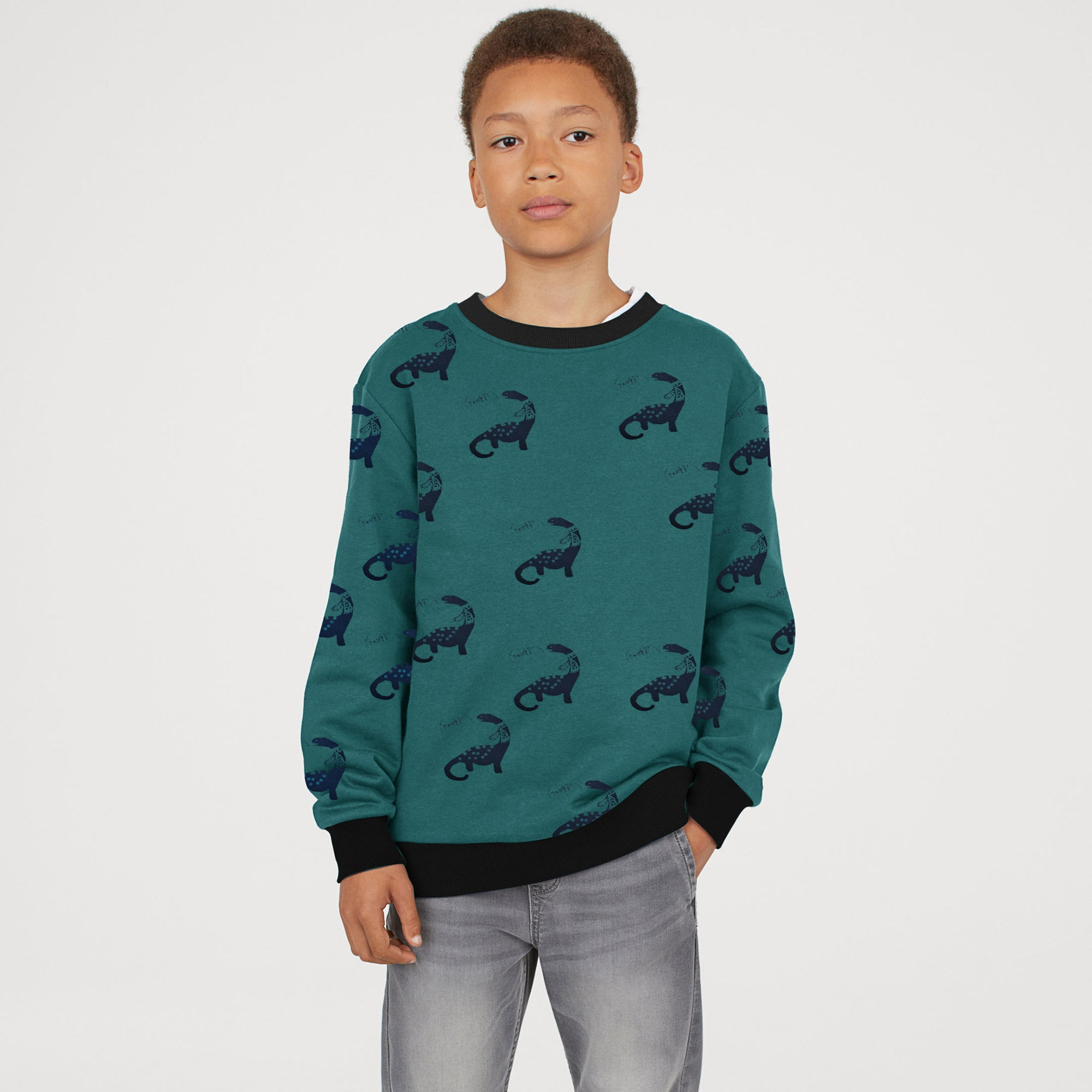 Tommy Hilfiger Terry Fleece Crew Neck Sweatshirt For Kids-Dark Cyan With Print-SP725