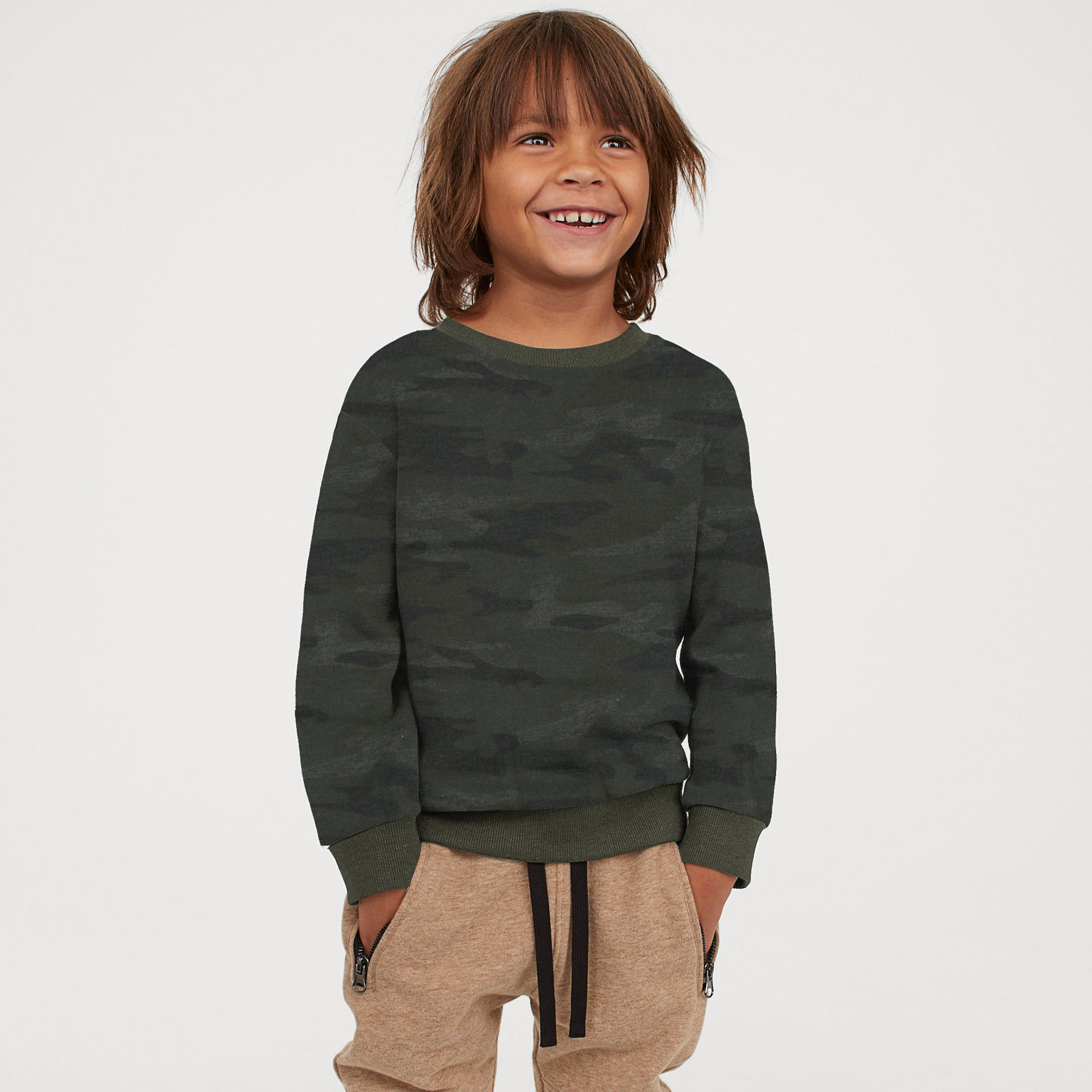 TH Terry Fleece Crew Neck Sweatshirt For Kids-Allover Print-SP766