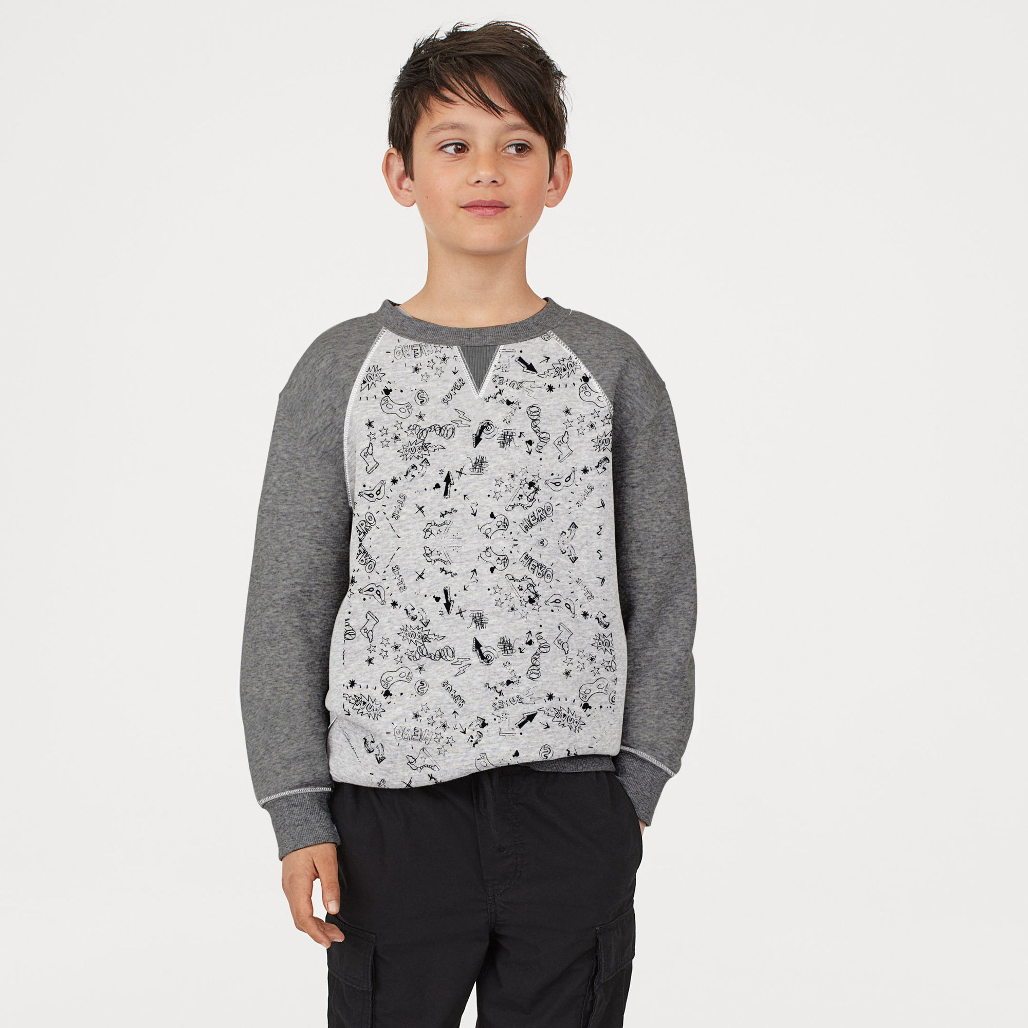 Next Fleece Crew Neck Raglan Sleeve Sweatshirt For Kids-Charcoal & Grey With Print-SP823