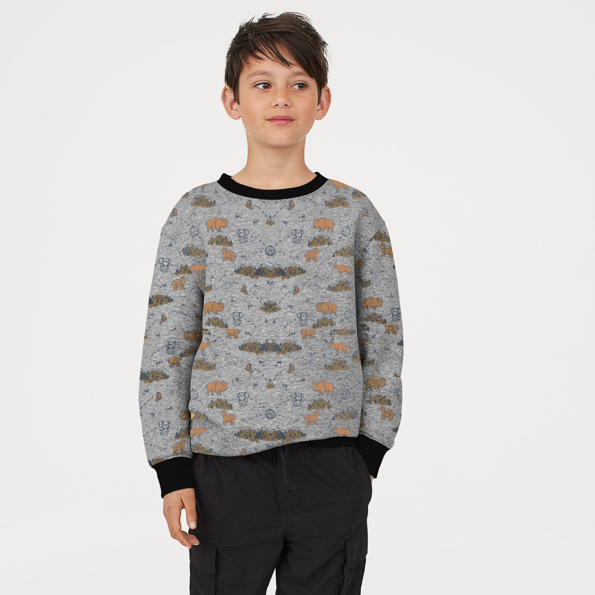 Tommy Hilfiger Terry Fleece Crew Neck Sweatshirt For Kids-Allover Print-SP808