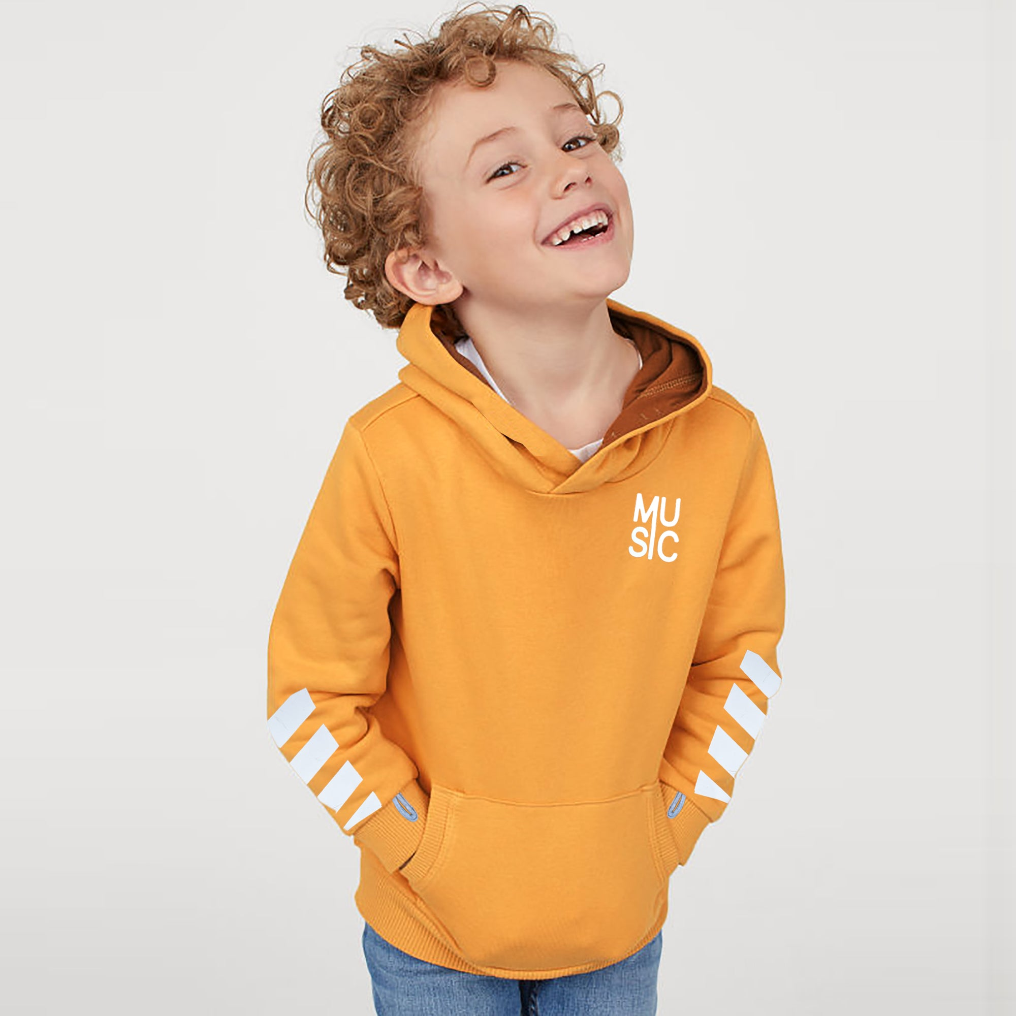 Next Terry Fleece Pullover Solid Hoodie For Kids-Yellow-SP825