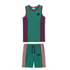 brandsego - Adidas Single Jersey Sport Suit For Kids-Dark Syan Green & Maroon Melange with Skin Stripe-SP561