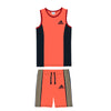 Adidas Single Jersey Sport Suit For Kids-Dark Pech & Dark Navy With Skin Stripe-SP674
