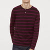 Red Camel Long  Sleeve Henley Single Jersey Polo Shirt For Men-Dark Maroon Witth Pink Stripe-SP278