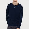 Adam Levine Long  Sleeve Henley Single Jersey Tee Shirt For Men-Dark Navy-SP283