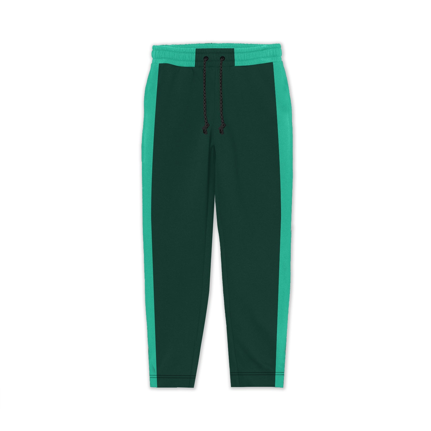 TH Regular Fit Fleece Jogger Trouser For Kids-Dark Green With Cyan Stripes-SP3878