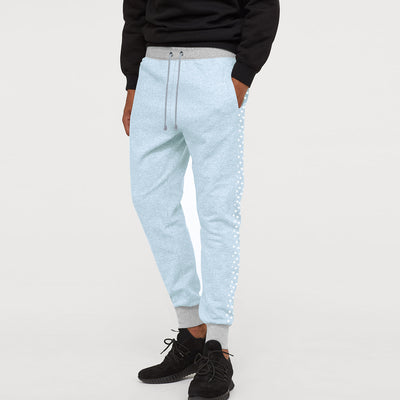 Uneek Single Jersey Jogger Trouser For Men-Sky Melange with Stars Panels-BE10165
