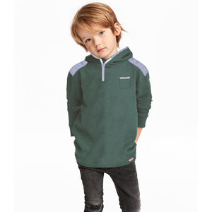 Next Single Jersey Henley Hoodie For Kids-Green Melange-BE3700