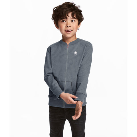 Next Fleece Baseball Jacket For Kids-Light Charcoal-BE3699